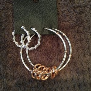Free People Silver and Gold Toned Hooped Earrings